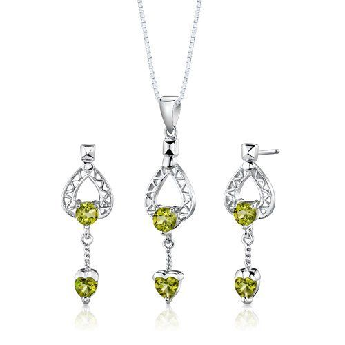 Sterling Silver Rhodium Finish 2.00 carats total weight Multishape Peridot Pendant Earrings and 18 inch Necklace Set . $39.99. Save 75% Off!