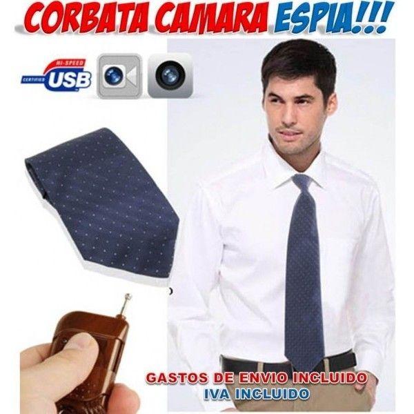 Productos y gadgets para el espionaje. Corbata con video cámara espía oculta. Visto en Yougametronica
