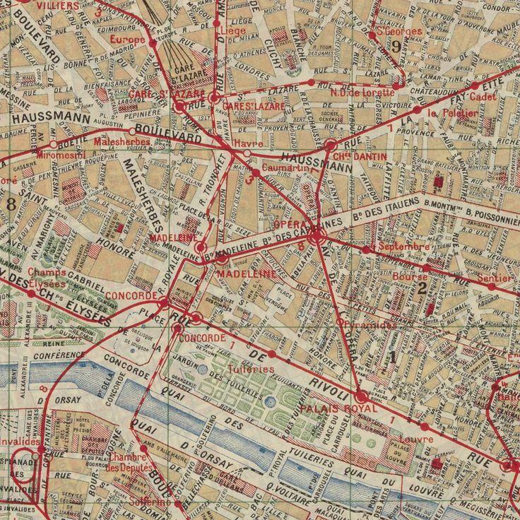 Nouveau plan de Paris avec toutes les lignes du Métropolitain et du Nord-Sud. A. Taride, 1915.