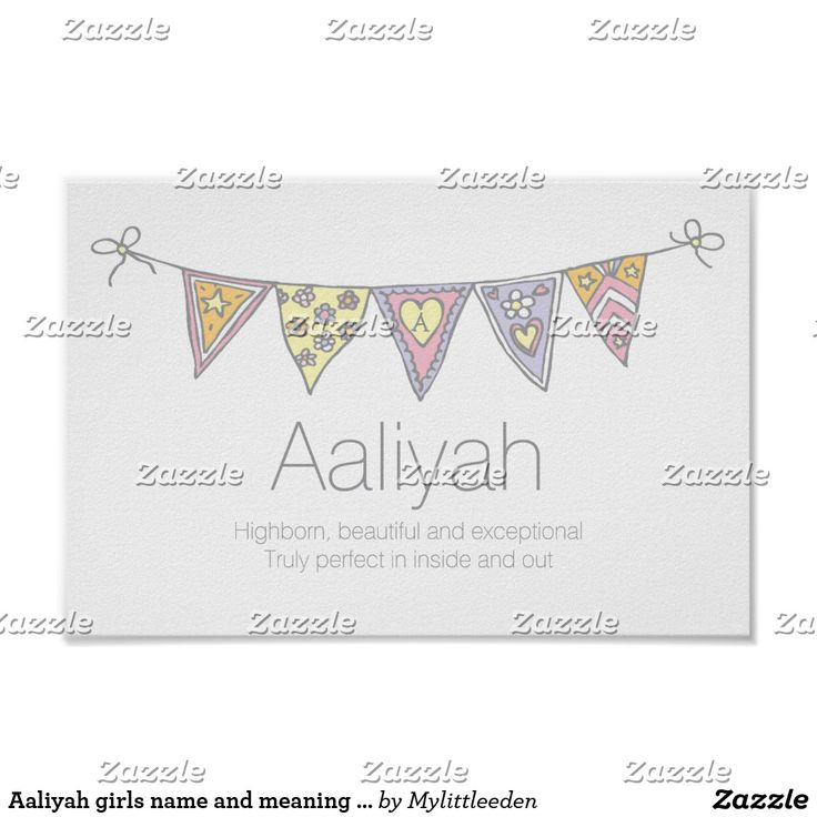 Aaliyah girls name and meaning bunting poster #nurseryart #girlsnames #nameposters #names #aaliyah