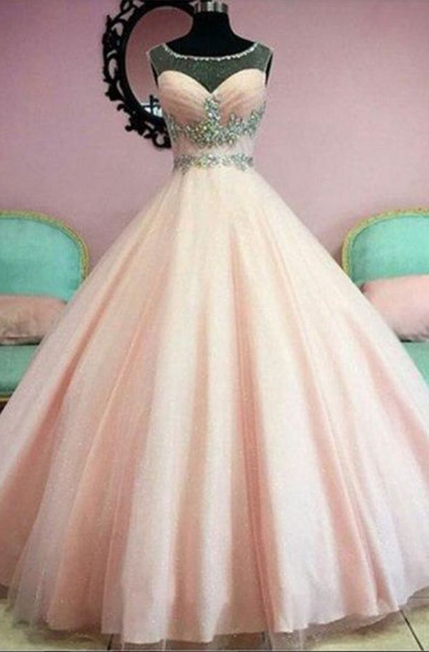 Sheer Neck Pink Ball Gown Prom Dress