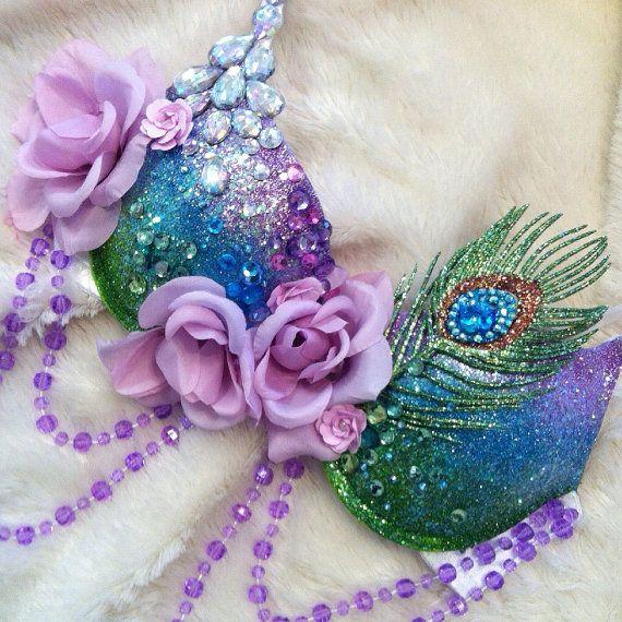 Reserved for Megan: Peacock Rave Bra by TheLoveShackk on Etsy