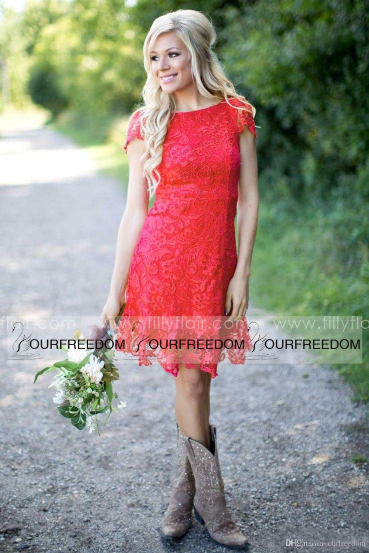 Awesome Cheap Red Full Lace Short Bridesmaid Dresses Cheap Western Country Style Crew Neck Cap Sleeves Mini Backless Homeing Cocktail Dresses Cheap As Low As