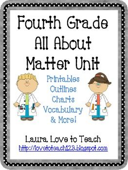 4th Grade Matter Unit: 38 pages of outlines and printables