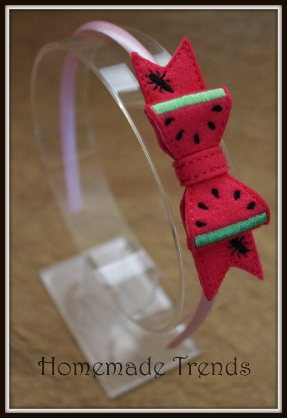 Watermelon Inspired 3D Bow Headband by HomemadeTrends on Etsy, $7.00
