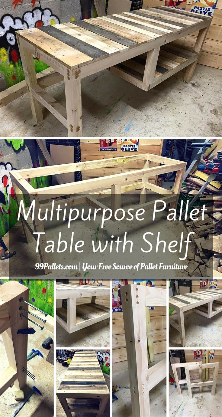 Diy pallet sofa with table 99 pallets - Multipurpose Pallet Table With Shelf