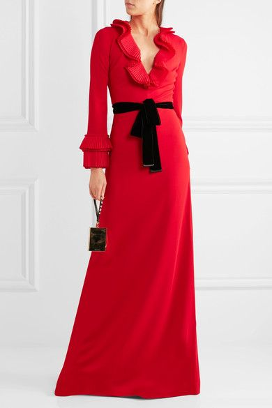Gucci - Velvet-trimmed Ruffled Stretch-crepe Gown - Red -