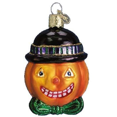 Mr. Pumpkin Head Christmas Ornament 26016 Merck Family Old World Christmas Mr. Pumpkin Head Halloween ornament has a silly grin, wearing a black hat and green tie. Made of mouth blown Z