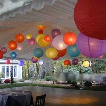 HuaYang DIY Handwerk Hochzeitsfest Dekoration Runde chinesische Papierlaterne Zufällige Farbe (Dia.: 20cm)