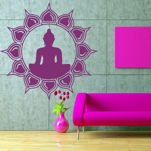 Wall decal art decor decals sticker hands Buddhism India Indian circle namaste Buddha OM Yoga success god lord (m63)