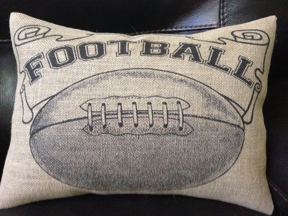 Vintage Football with banner Burlap  Decorative Pillow Sports Football. Ordering this for Kaden's room!
