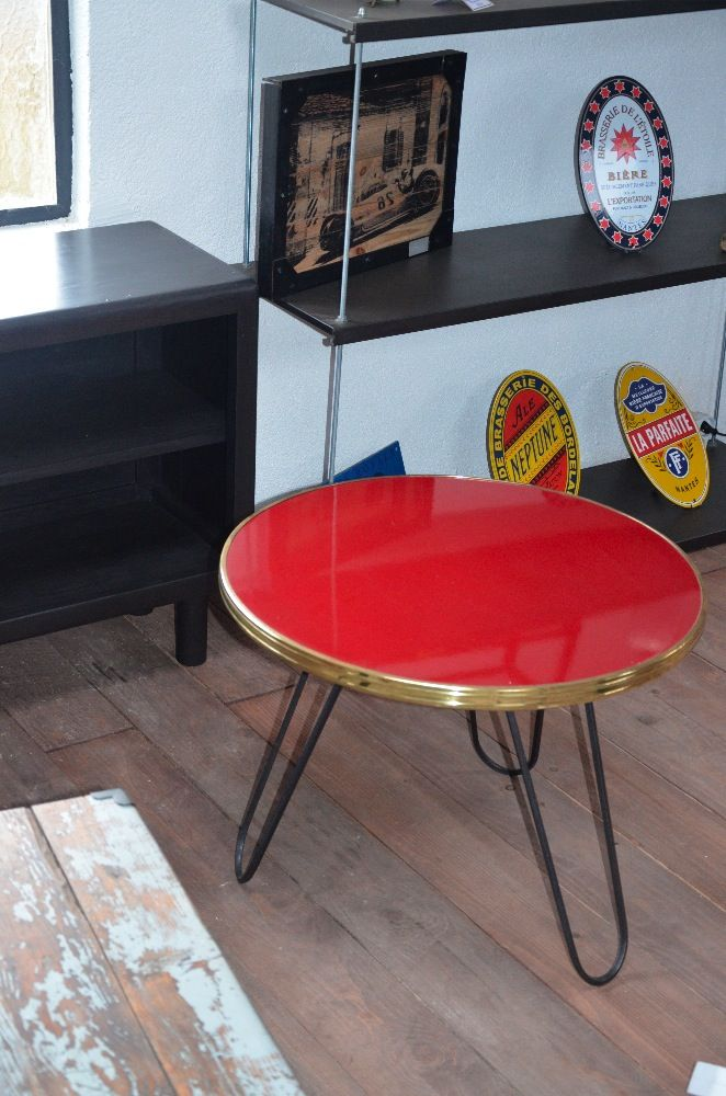 Table basse bistrot table basse bois et m tal table - Table basse 70 s ...