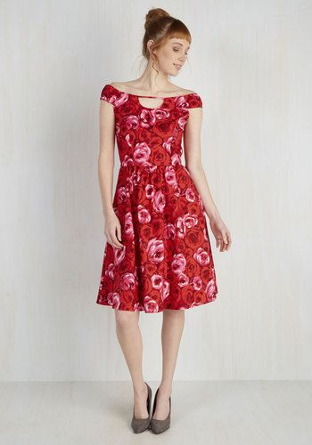 Of Date Importance Dress - Red, Pink, Floral, Print, Daytime Party, A-line, Sleeveless, Woven, Better, Cotton, Valentine's, Spring, Mid-length
