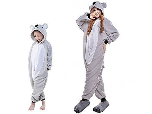 ABYED® Jumpsuit Tier Karton Fasching Halloween Kostüm Sleepsuit Cosplay Fleece-Overall Pyjama Schlafanzug Erwachsene Unisex Lounge,Erwachsene: Koala