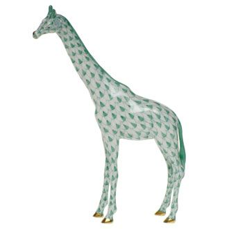 Herend Hand Painted Porcelain Standing Tall Giraffe Figurine in Green Fishnet and Gold Accents.