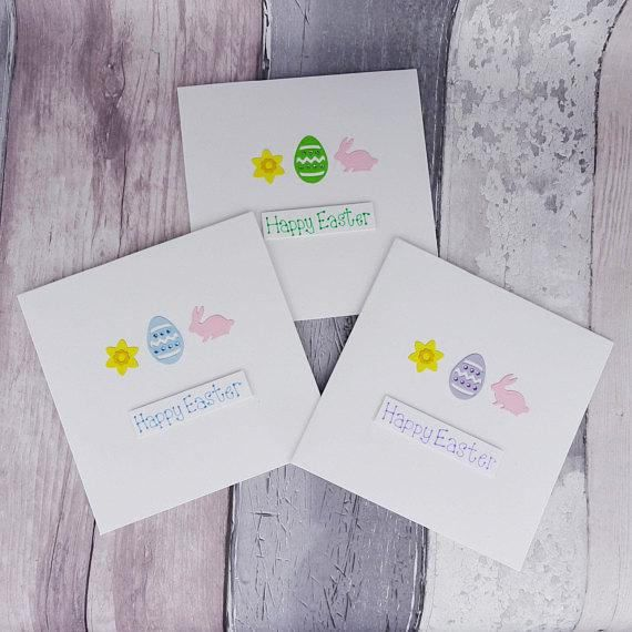 Handmade Easter cards, (individual or pack of Easter cards). These Easter cards with daffodils, bunny rabbits and Easter eggs can be bought individually or as a pack (with an added discount). This Easter egg card has a decorated Easter egg with gems, a daffodil flower head and a pink