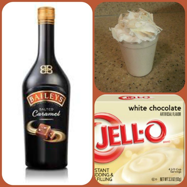 White chocolate salted caramel cream pudding shots 1 small Pkg.white chocolate instant pudding 3/4 Cup Milk 3/4 Cup Baileys salted caramel 8oz tub Cool Whip  Directions 1. Whisk together the milk, liquor, and instant pudding mix in a bowl until combined. 2. Add cool whip a little at a time with whisk. 3.Spoon the pudding mixture into shot glasses, disposable shot cups or 1 or 2 ounce cups with lids. Place in freezer for at least 2 hours