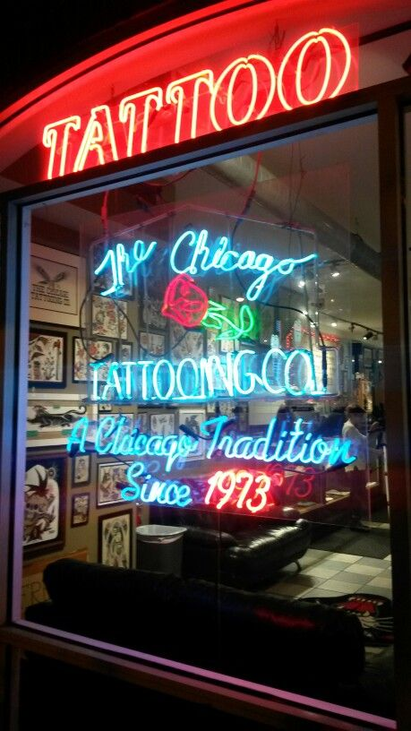Hand-painted flash a real Chicago tattoo shop♤♧♢♡