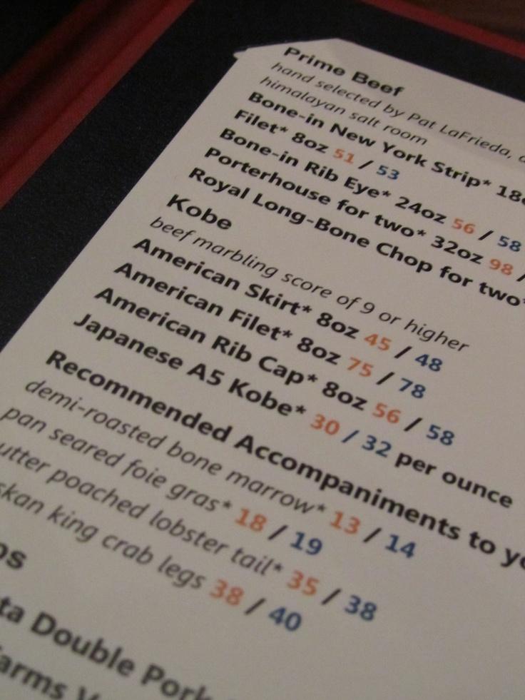 Traditional food menu... Gordon Ramsey Steak in Las Vegas