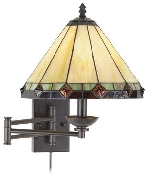 Arts and Crafts - Mission Tiffany Style Glass Panel Plug-In Swing Arm Wall Lamp - craftsman - Wall Lighting - Lamps Plus