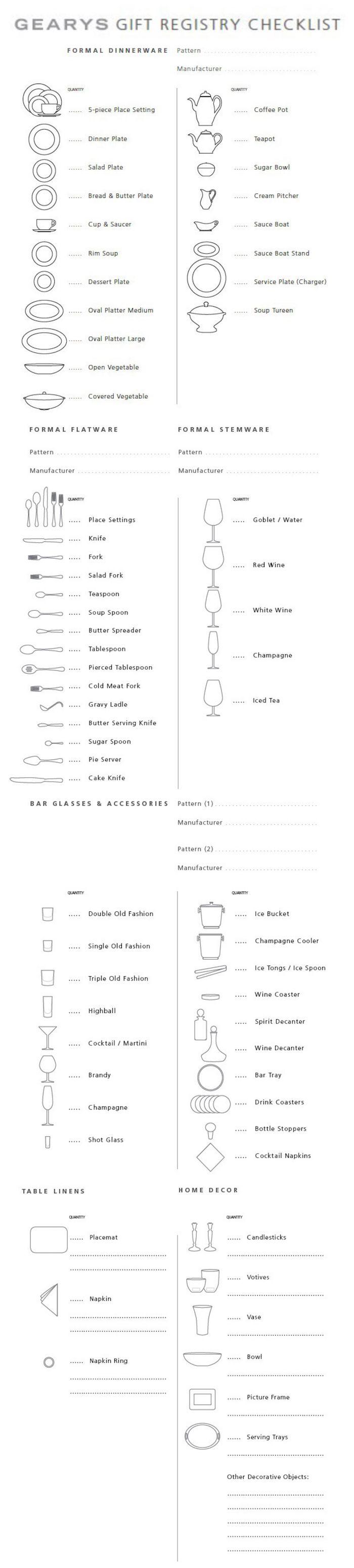 Wedding Gift Registry Checklist, Formal Dinnerware & More (via Gearys)