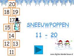 Digibordles: Sneeuwpoppen 11- 20 op digibordonderbouw.nl