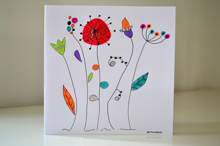 Carte Anniversaire illustration fleurs peinte à la main - Carte de Voeux originale - : Cartes par antonella-creation