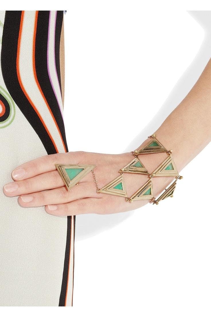PAMELA LOVE  Bronze and chrysoprase pyramid hand piece
