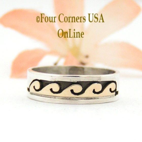 Four Corners USA Online - Size 6 Ring 14K Gold and Silver Wave Water Symbol Wedding Band Style Navajo Scott Skeets NAR-1587, $65.00 (http://stores.fourcornersusaonline.com/size-6-ring-14k-gold-and-silver-wave-water-symbol-wedding-band-style-navajo-scott-skeets-nar-1587/)