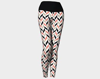 Legging rayés, Leggings taille hautes,flèches, rayés, saumon, noir, Print pantalons de Yoga, legging femmes