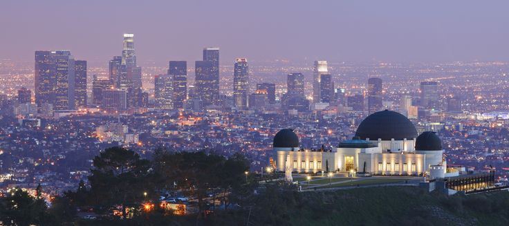 Griffith Observatory at night with #LA skyline in the ...