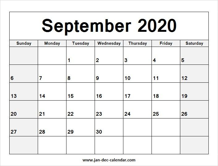 2020 Blank Monthly Calendar Printable June 2019 Calendar August