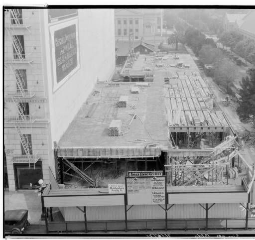 Singer Building under construction, 520 East Colorado, Pasadena. 1926. :: Huntington Library, Art Collections, and Botanical Gardens