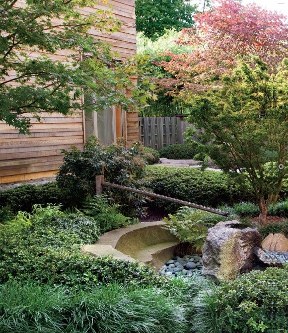 Decoration, Fascinating Wooden Home With Small Garden On Backyard With  Green Plants: Outstanding Green Japanese Landscape Design Part 73