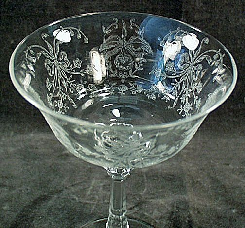 Vintage Heisey Orchid Etch Champagne Glass
