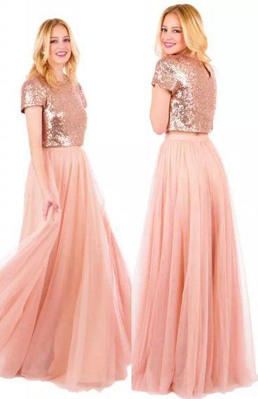 5bc080764b long bridesmaid dresses, two piece prom dresses, 2018 rose gold sequins  bridesmaid dresses, pink tutu skirt