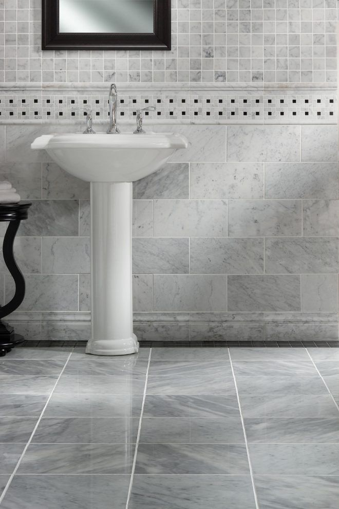 Atlanta Carrara Marble Bathroom Traditional With Top Vanities