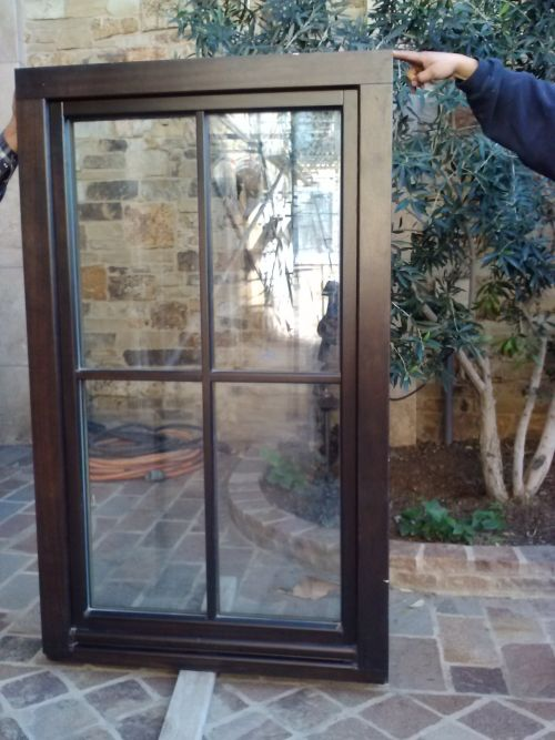 CUSTOM MADE IN GERMANY/ SOLID MAHOGANY/SWING AND TILT/ 2 WINDOWS WITH CLEAR GLASS/2 WITH OBSCURE (DOUBLE/TRIPLE GLAZED) 3.0' X 5' REALLY BEAUTIFUL AND THE HIGHEST QUALITY  CALL (818) 515-1100