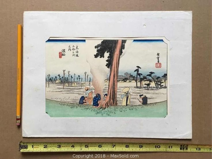 "Hiroshige \""Hamamatsu\"" Winter scene. Original colour woodcut (circa 1900-1910s) with sharp impression and bright colours."