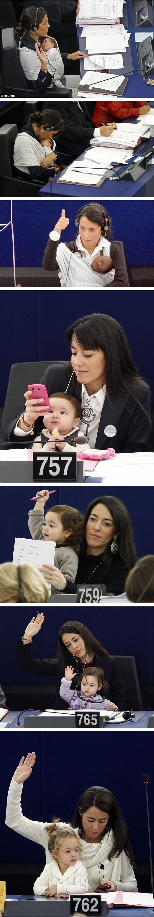 Licia Ronzulli, member of the European Parliament, has been taking her daughter Vittoria to the Parliament sessions for two years now.