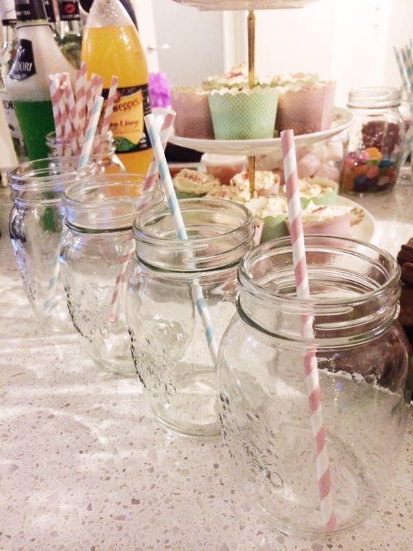Mason jars and sweet pastel paper straws