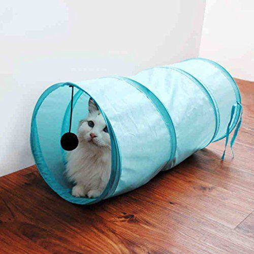 Vivi Bear Foldable Cats Play Tunnel Pet Kitty Play Toy - 50cm Long (Blue) -- Read more info by clicking the link on the image.