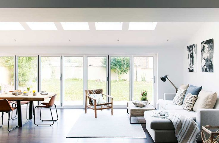 Industrial kitchen extension living area with bi fold doors
