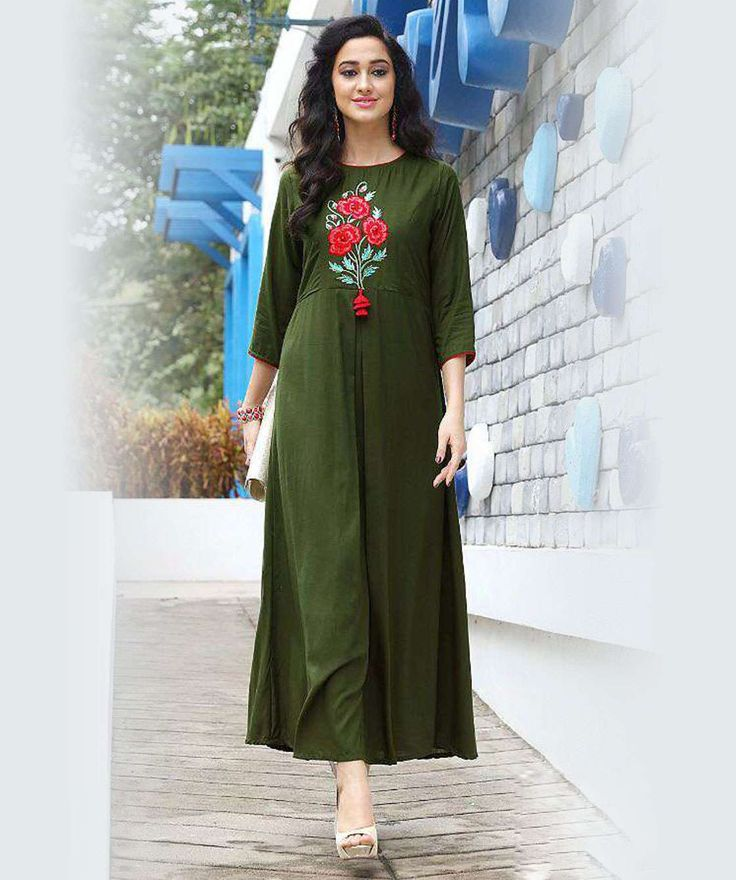Green Color Rayon western Gown Kurti