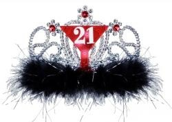 1 - Flashy light up 21 tiara features a martini glass with the number 21 on it with red stones above and black and silver marabou lining the bottom. Combs on either side of tiara hold it in place. Remove pull tag, push button to activate and ENJOY!!