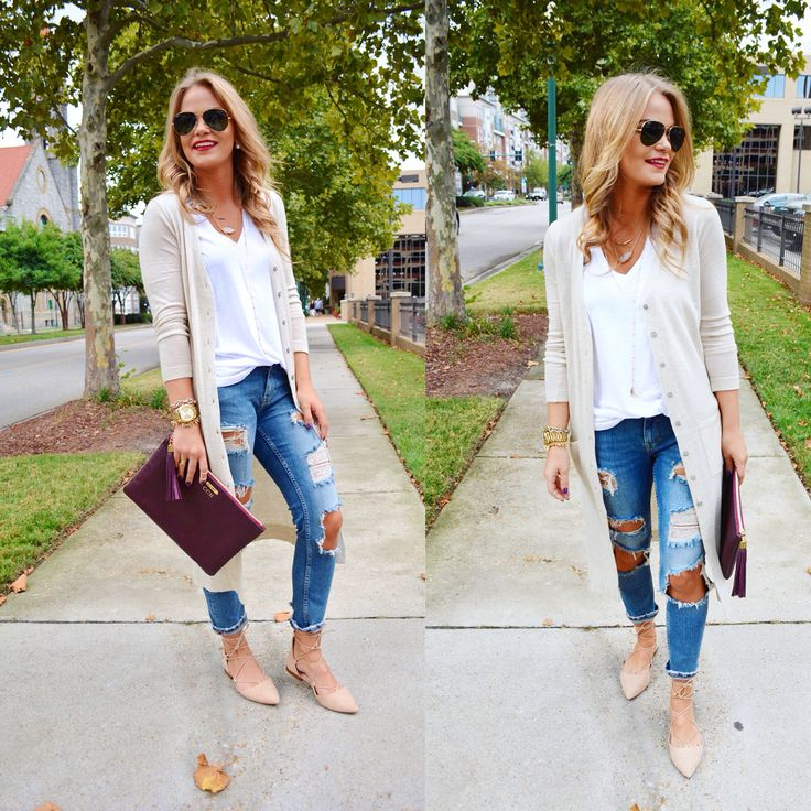 ripped jeans, white tee, and a long cream colored cardigan. Super cute and - 261 Best Style - Sweaters Images On Pinterest
