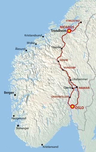 St Olaf's Way, Norway, a popular walking pilgrimage route between Oslo and Tronheim.  The train we rode follows the same route.