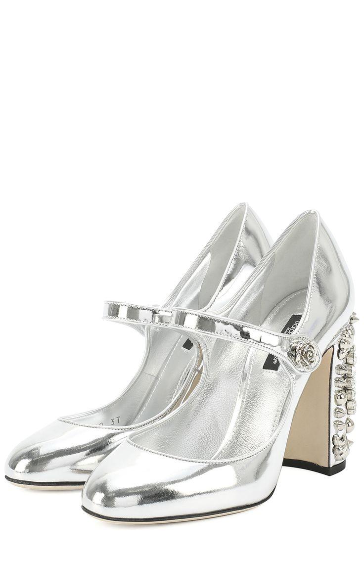 Женские серебряные туфли vally из металлизированной кожи на каблуке с декором Dolce & Gabbana, сезон FW 16/17, арт. 0112/CD0630/AE648 купить в ЦУМ | Фото №1