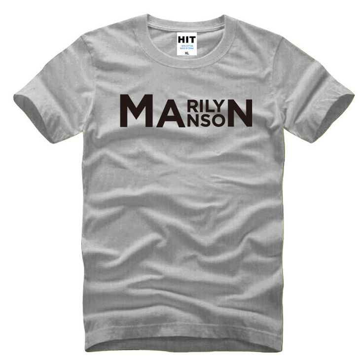Rock Music Band Marilyn Manson Letter Printed Men's T-Shirt T Shirt Men 2016 New Short Sleeve O Neck Cotton Casual Top Tee #Affiliate
