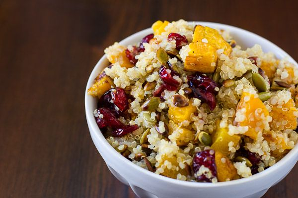 Quinoa with Roasted Squash, Dried Cranberries & Pepitas   Healthy ...